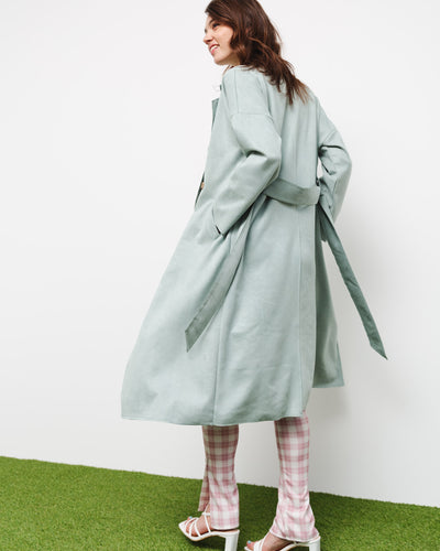 Trenchcoat in Wildleder-Optik - Broke + Schön#farbe_mint
