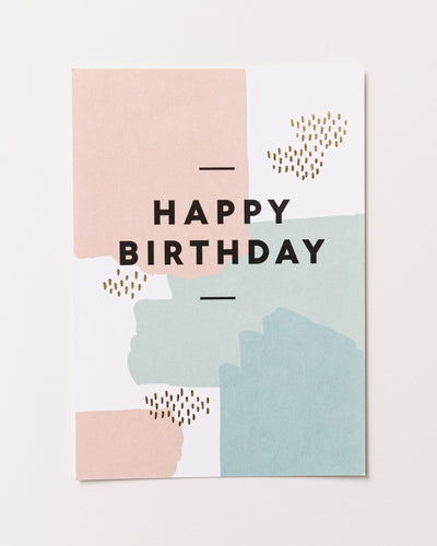 Postcard Happy birthday paint spatters - Broke + Schön