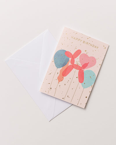 Small Greeting Card Happy Birthday Balloons - Broke + Schön
