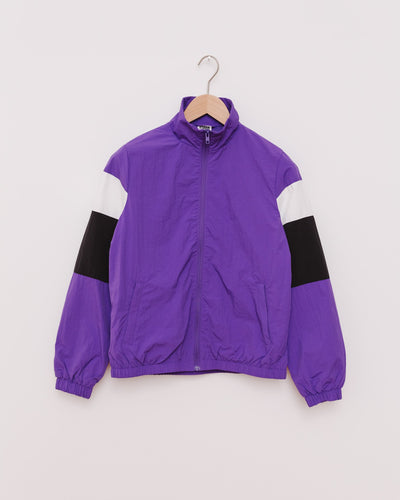 Ladies 3-Tone Crinkle Track Jacket in ultraviolet/blk/wht - Broke + Schön Shop