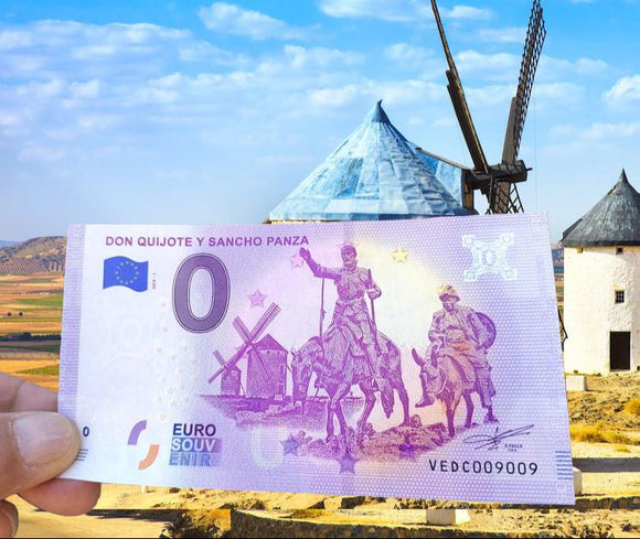 Billete Eurosouvenir Don Quijote y Sancho Panza