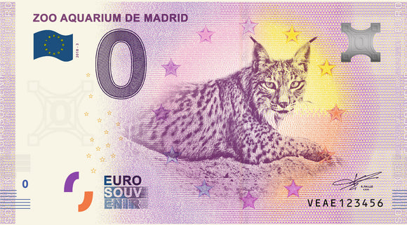 Billete Eurosouvenir Zoo Aquarium de Madrid - Lince