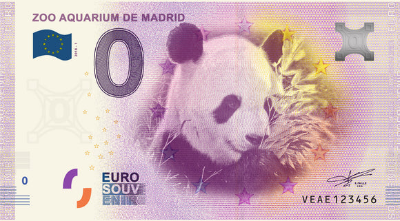 Billete Eurosouvenir Zoo Aquarium de Madrid - Panda
