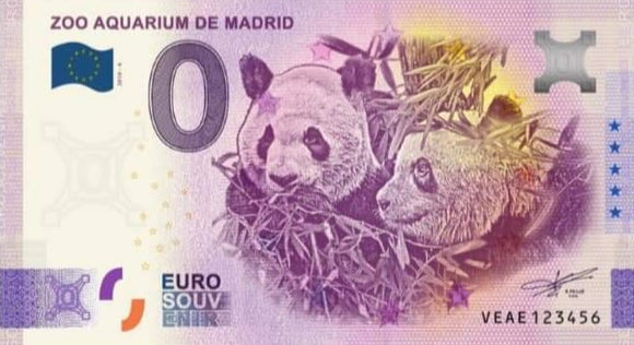 Billete Eurosouvenir Zoo Aquarium Madrid Panda Duo Anniversary 2020