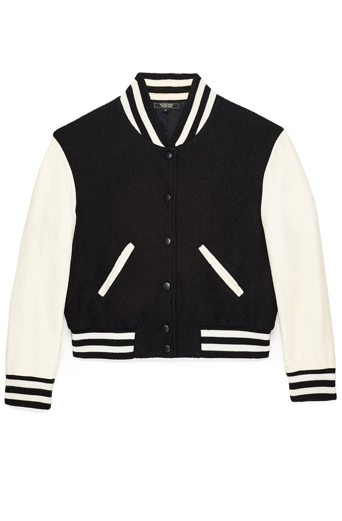 OG Cropped Varsity Jacket w Leather Sleeves