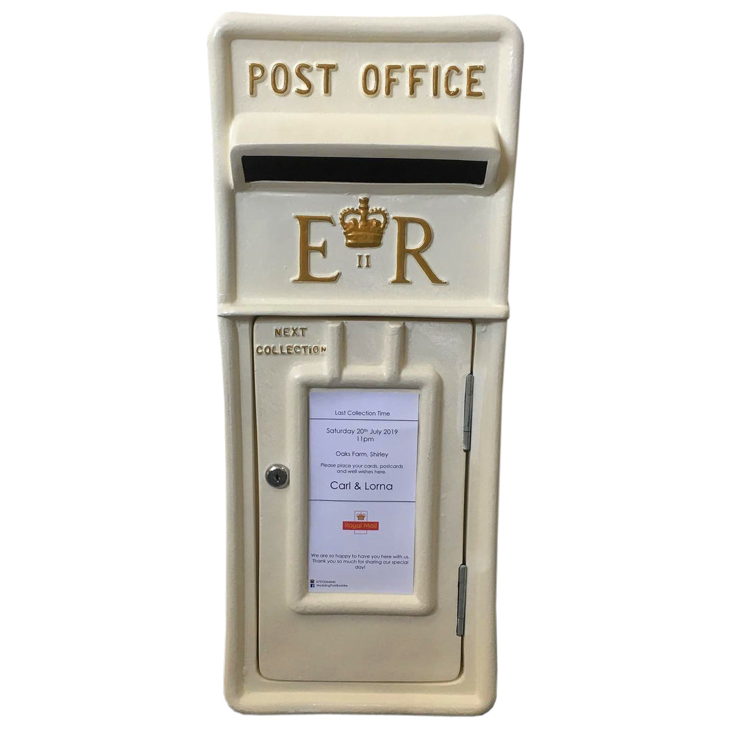 Ivory and Gold Royal Mail Wedding Post Box Hire