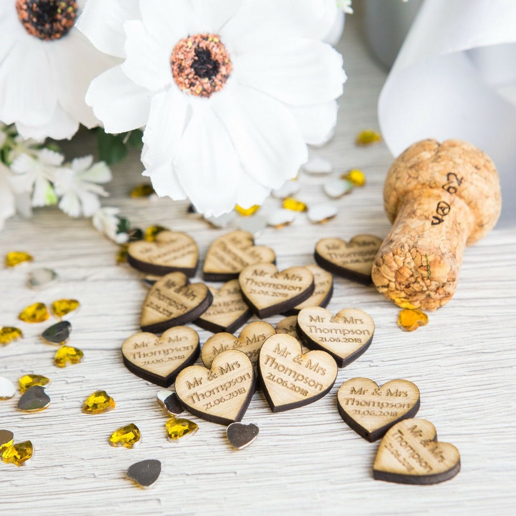 Personalised Heart Wedding Favours Wooden Confetti x50
