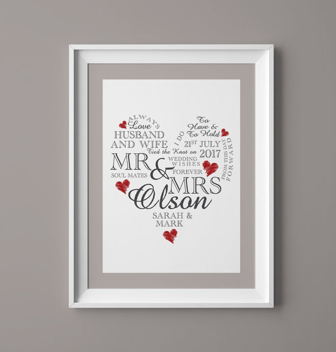 A4 Personalised Wedding Gift - Wedding Heart