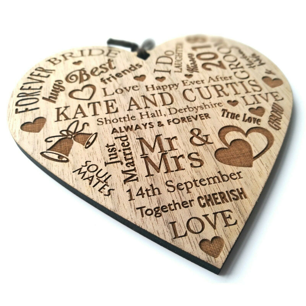 Personalised Wedding Gift Wooden Heart Plaque