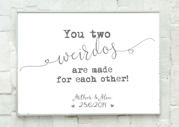 A4 Personalised Wedding Gift - Wedding Weirdos!