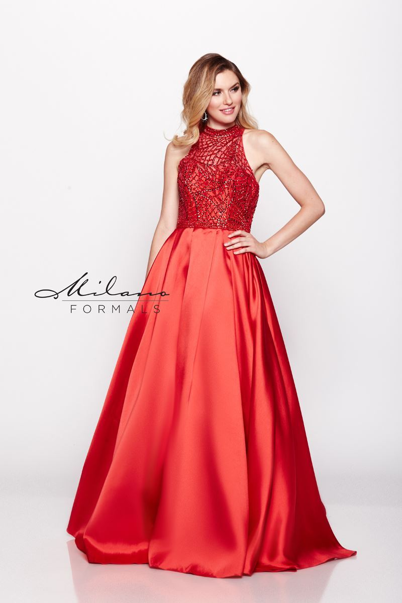 Milano Formals E2069 High-Neckline Red Floral Gown