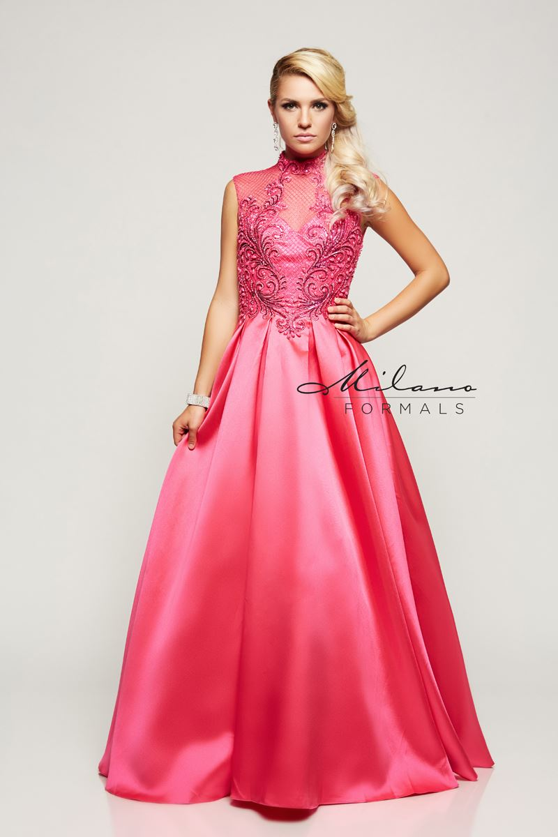 Milano Formals E2118 Long High Neck Prom Gown