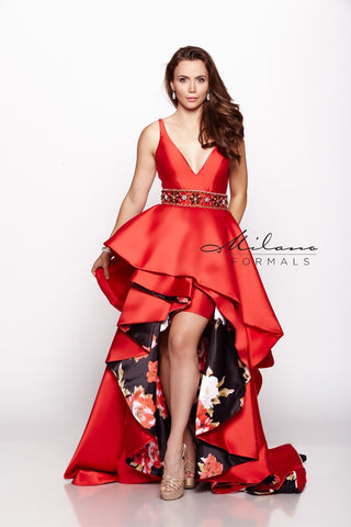 Milano Formals E2152 High Low Lace Prom Dress