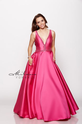 Milano Formals E2165 Plunging V-Neckline Prom Gown