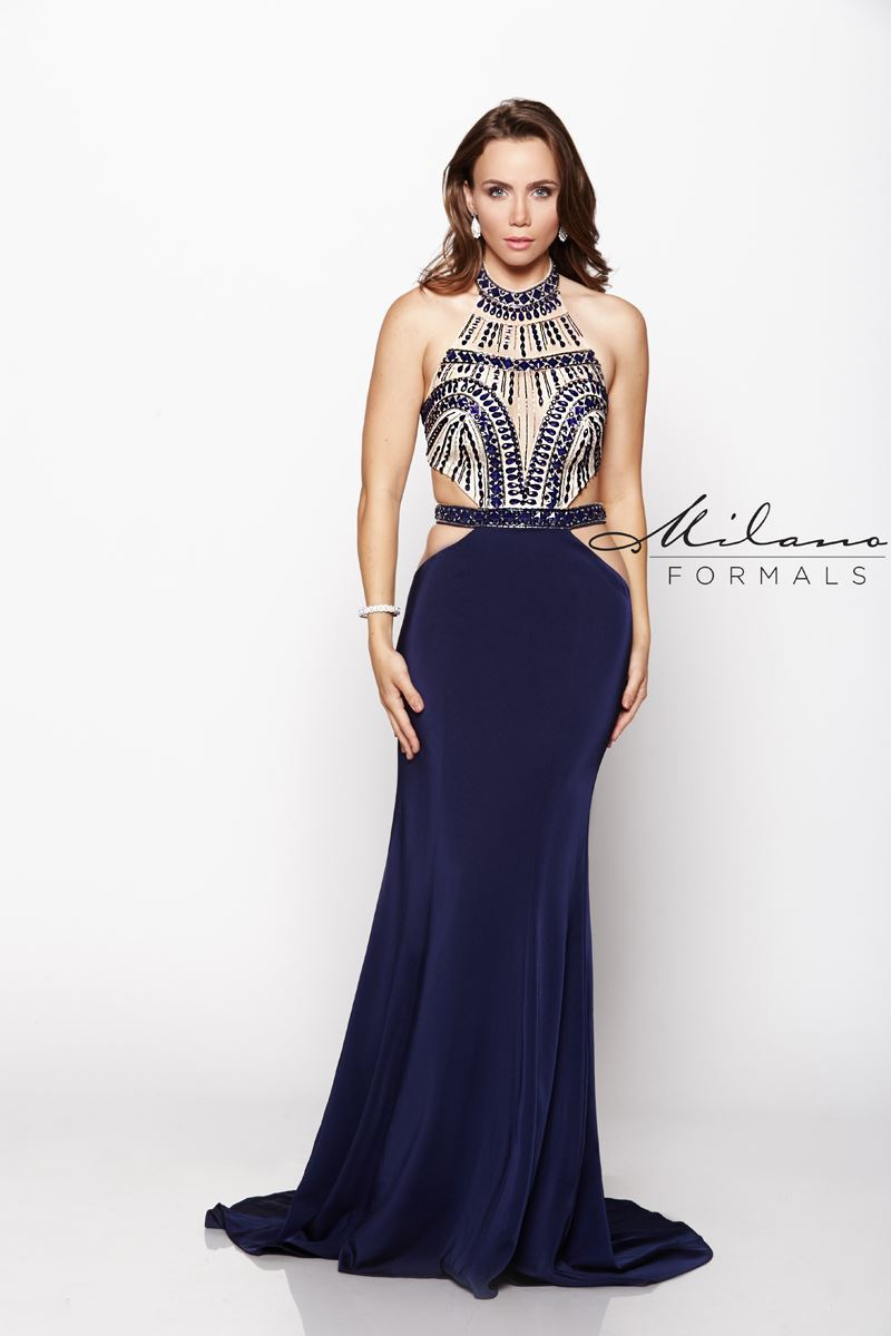 Milano Formals  E2060 Long High-Neck Prom Dress