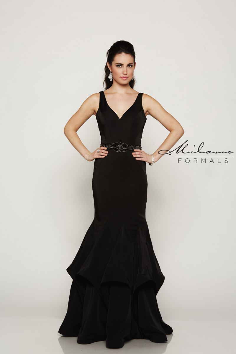 Milano Formals E2064 Floral Open Back-Sided Gown