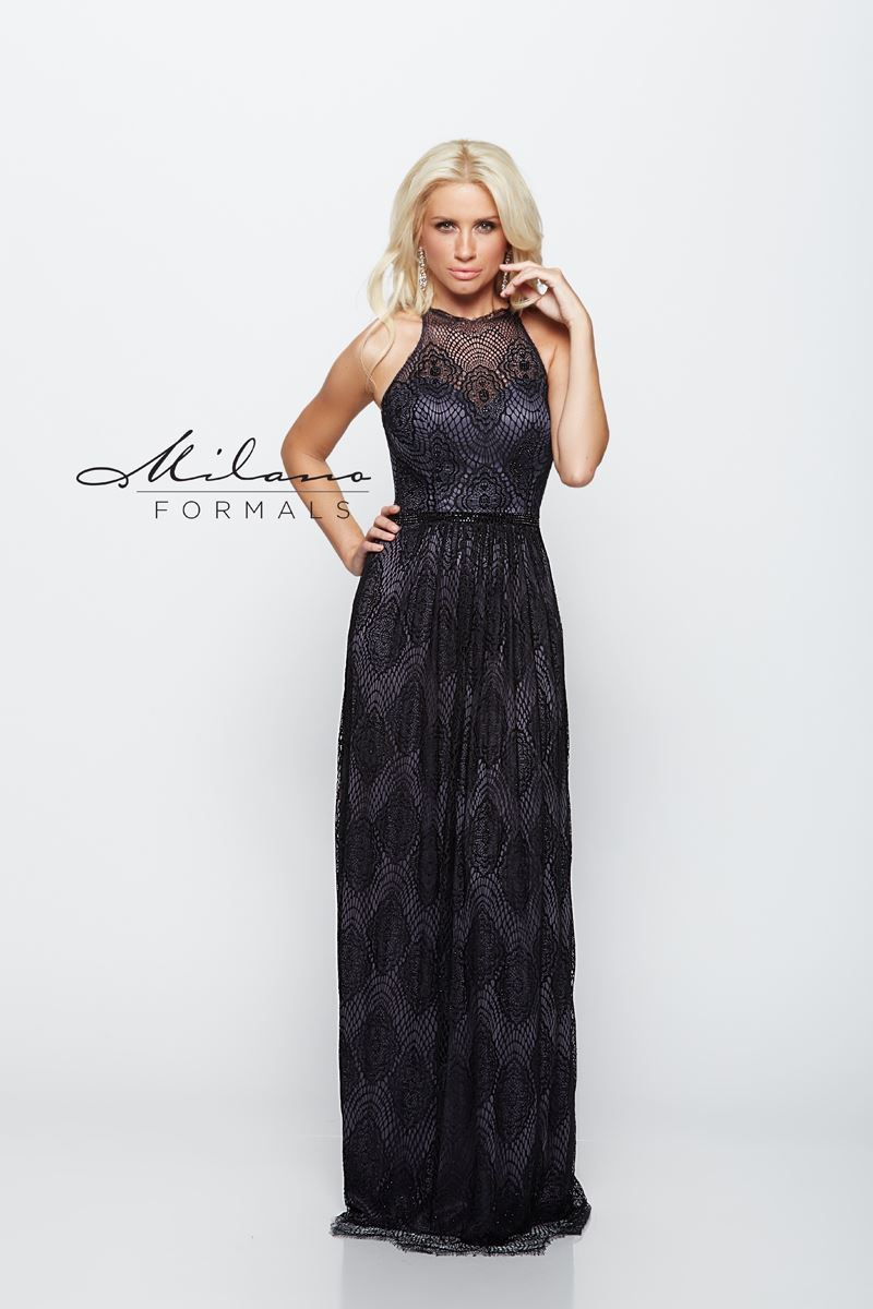 Milano Formals E2072 Long High-Neckline Gown