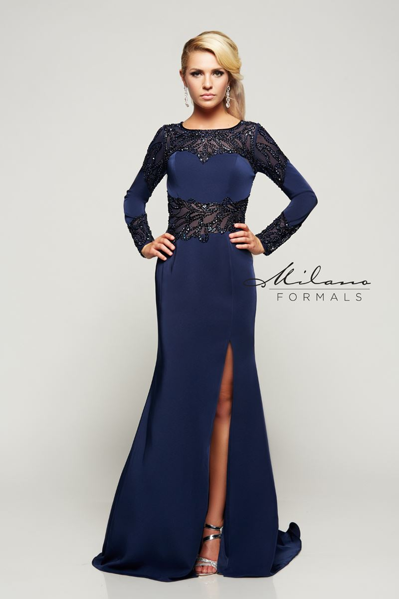 Milano Formals E2074 Long Full-Sleeve Floral Gown