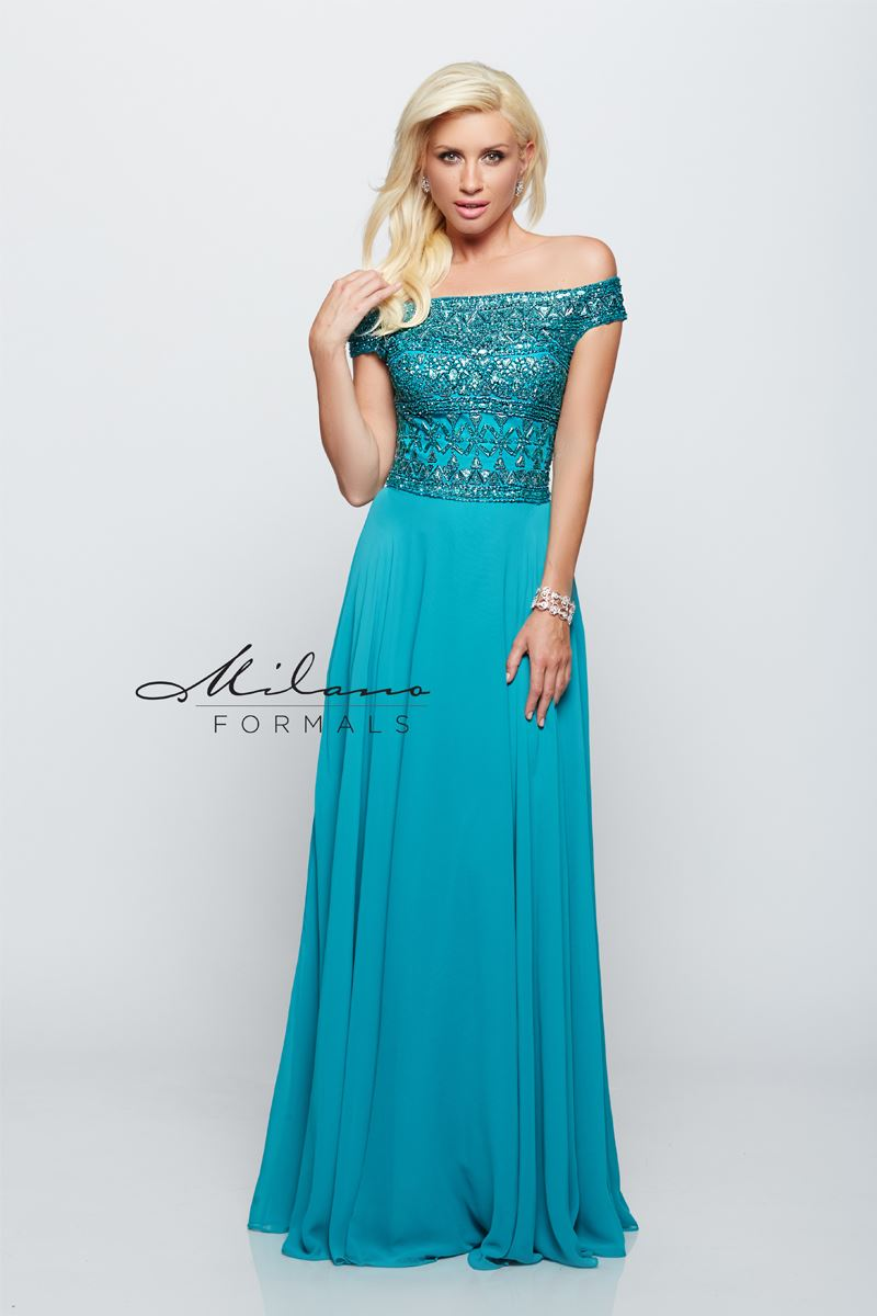 Milano Formals E2094 Off-The-Shoulder Floral Gown