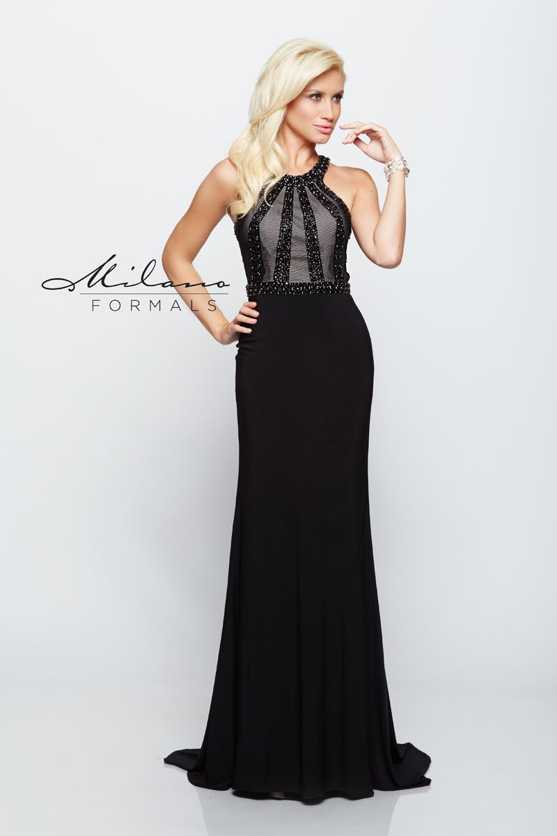 Milano Formals E2098 Open Back-Sided Long Gown