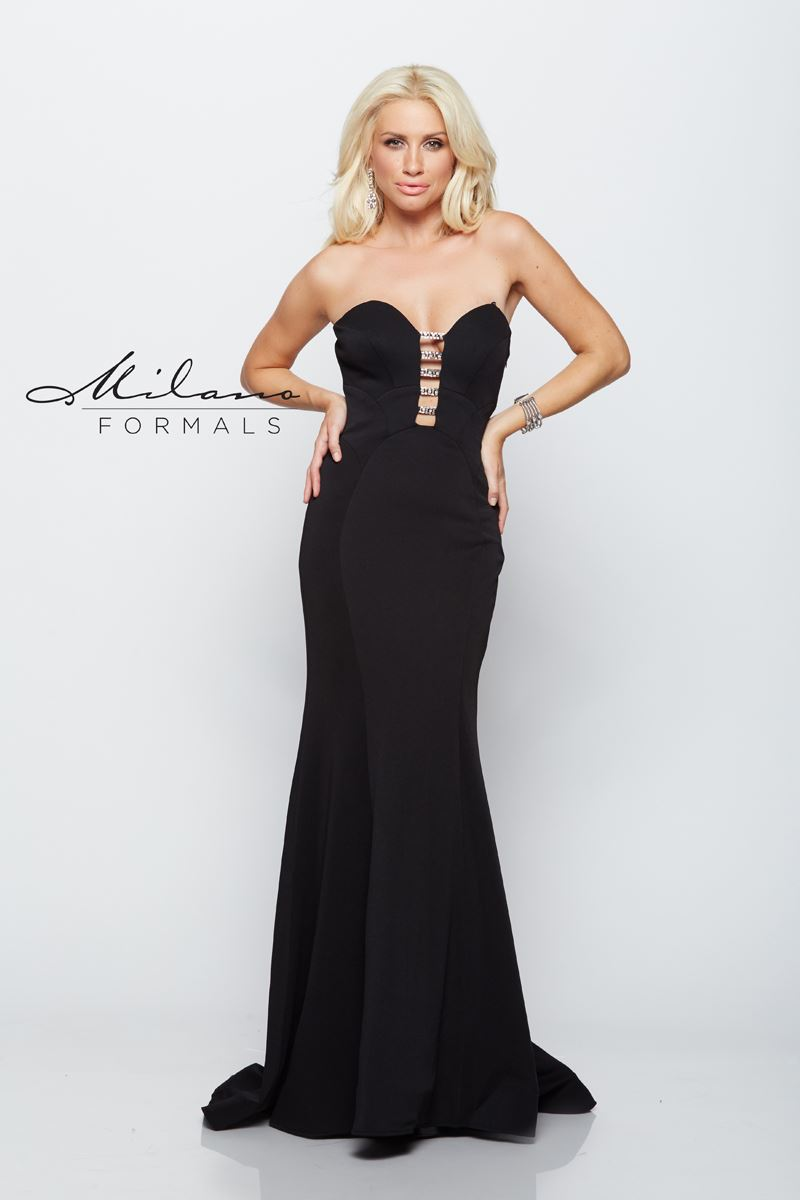 Milano Formals E2102 Strapless Fitted Long Gown
