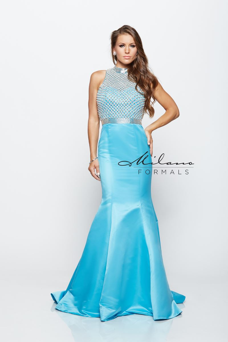 Milano Formals E2140 Mermaid Open Back Prom Dress