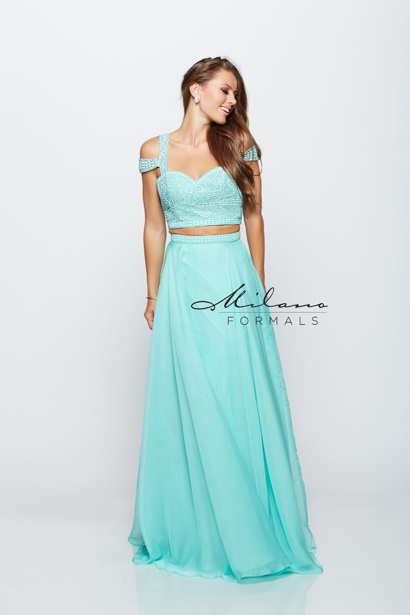 Milano Formals E2144 Mint Two Pieces Long Prom Dress