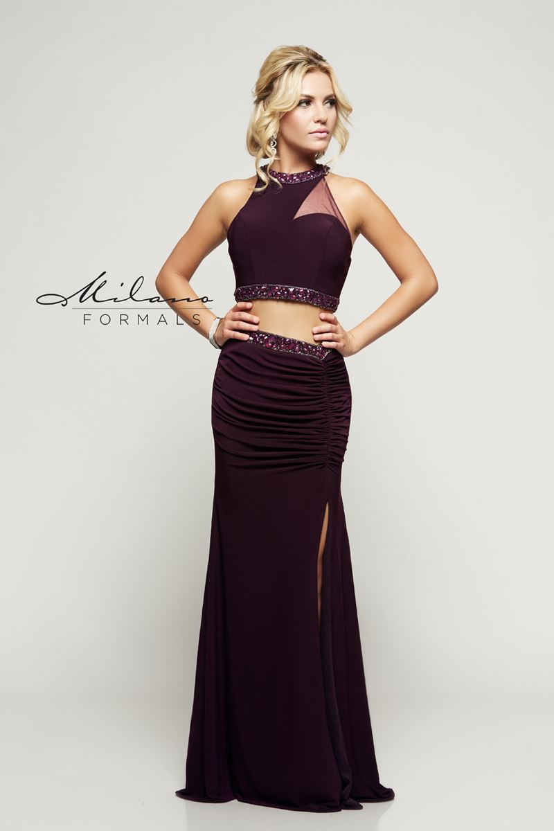 Milano Formals  E2148 2 In 1 Long High Neck Prom Dress
