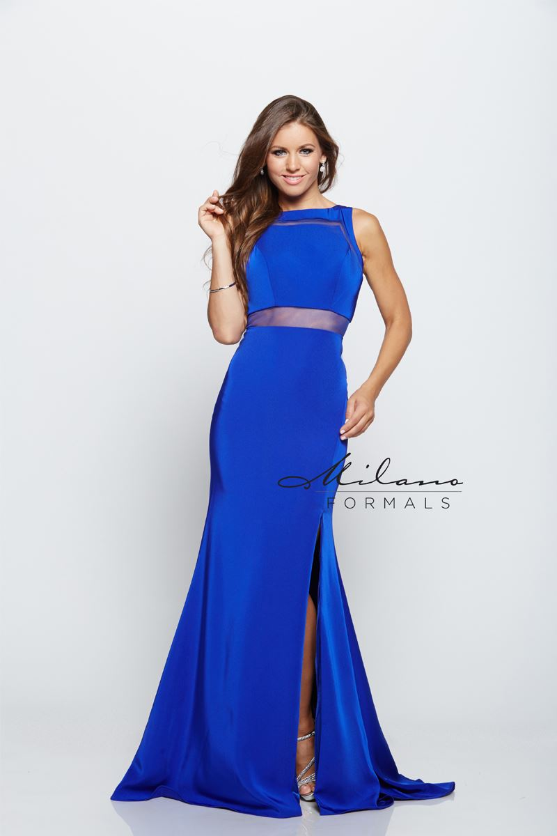 Milano Formals E2151 Floor Length High Slit Prom Dress