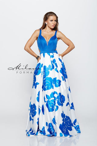 Milano Formals E2159 Long Floral Prom Dress