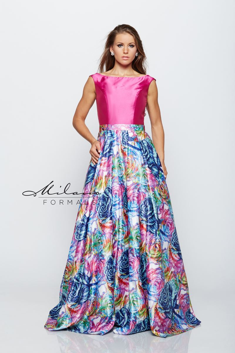 Milano Formals E2162 Rainbow Floral Prom Dress