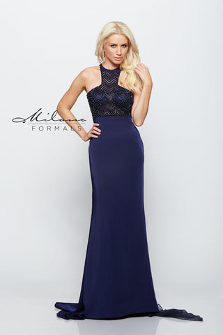 Milano Formals E2174 Long Sleeveless Fitting Prom Dress