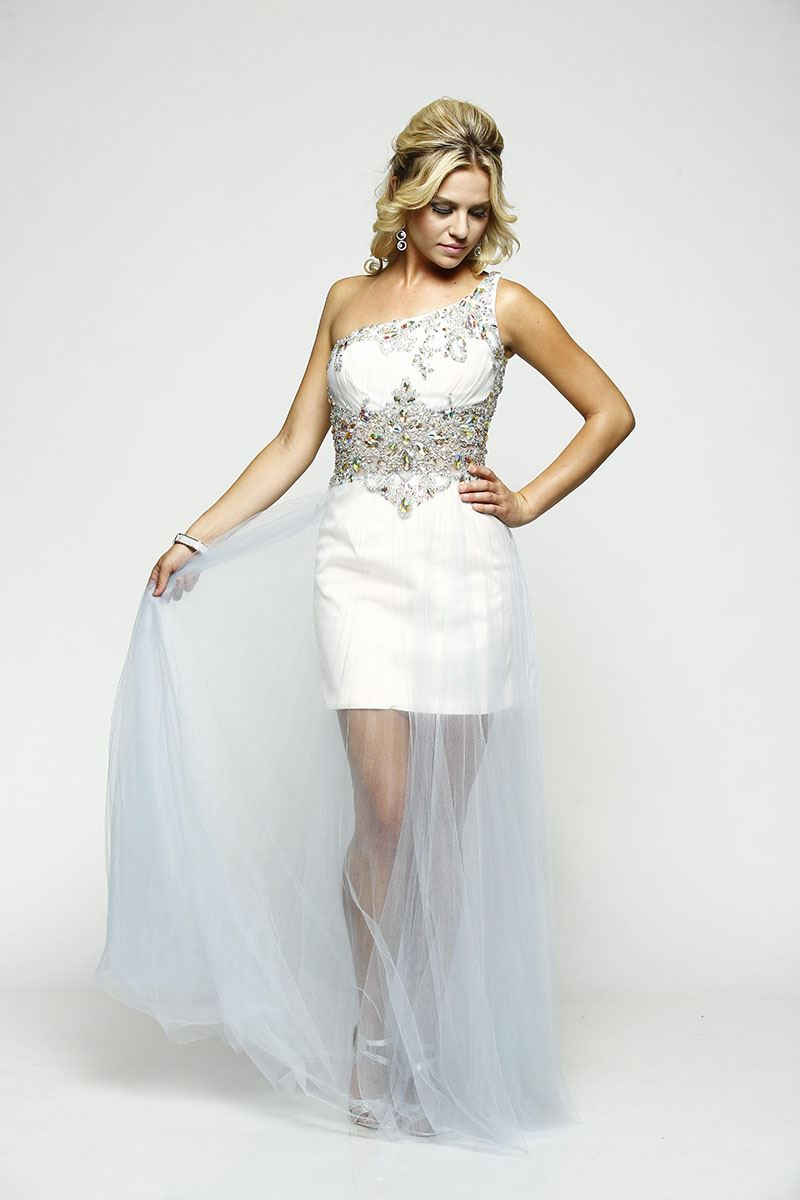 Milano Formals E2106 One-Sided strap Prom Dress