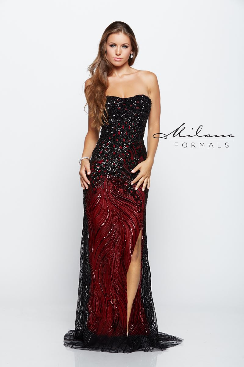 Milano Formals E2117 Front Slit Long Prom Gown