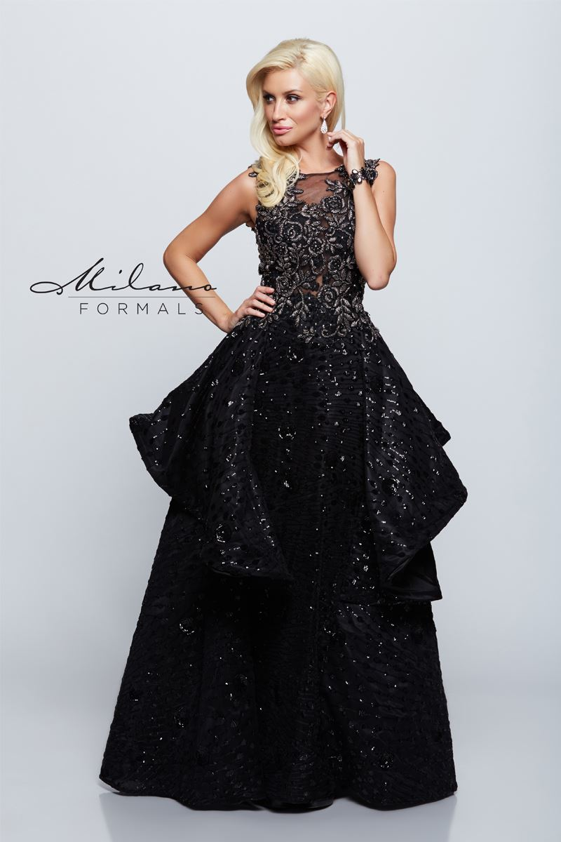 Milano Formals E2150 Long Floral Prom Dress