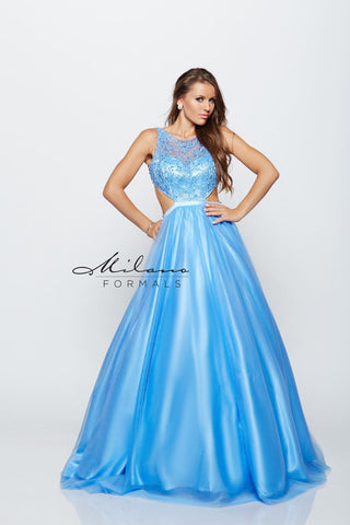 Milano Formals E2171 Floral Cut Out Prom Dress