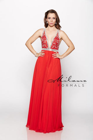 Milano Formals E2173 V-Neck Red Prom Dress