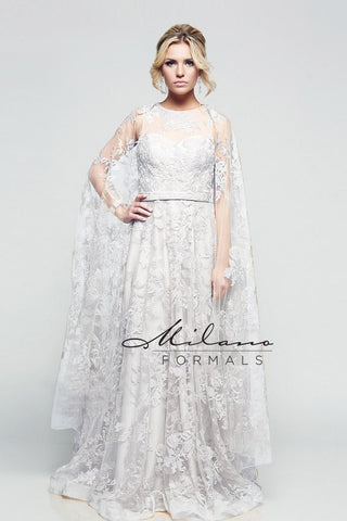 Milano Formals E2158 Long Floral Prom Dress