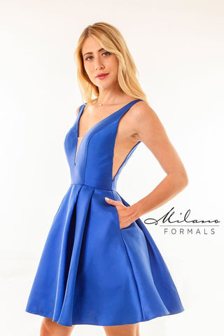 Milano Formals E2600 Short V-Neckline Homecoming Dress