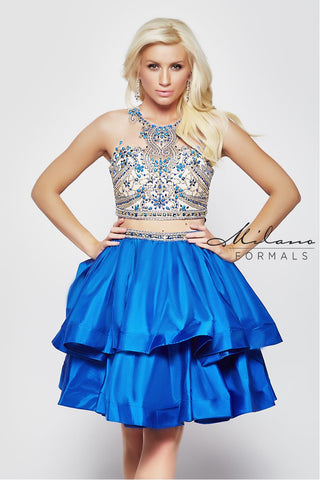 Milano Formals E2000 2 In 1 Short Prom Dress with Skirt