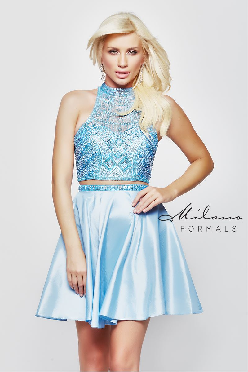 Milano Formals E2039 2 In 1 Neck-Halted Short Prom Dress