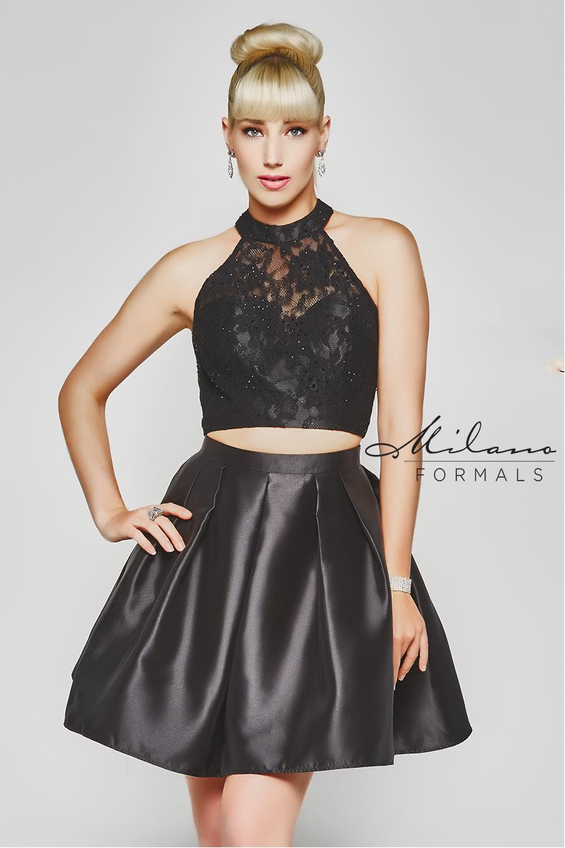 Milano Formals  E2061 2 In 1 High-Neck Halted Prom Dress