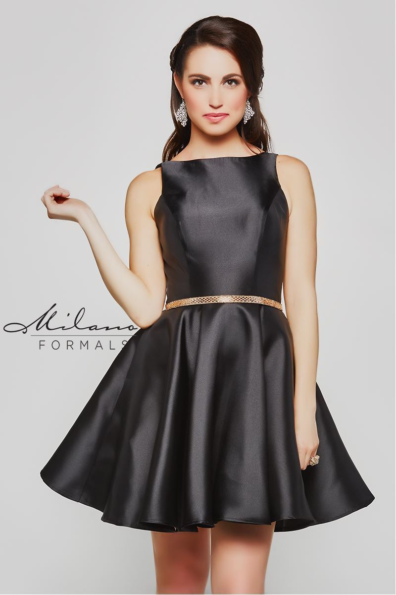 Milano Formals E2063 High-Neckline Short Prom Dress