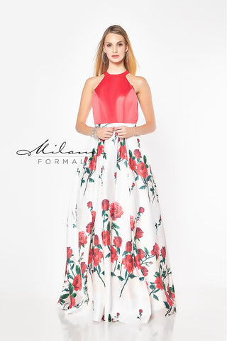 Milano Formals E2161 High Neckline Prom Dress