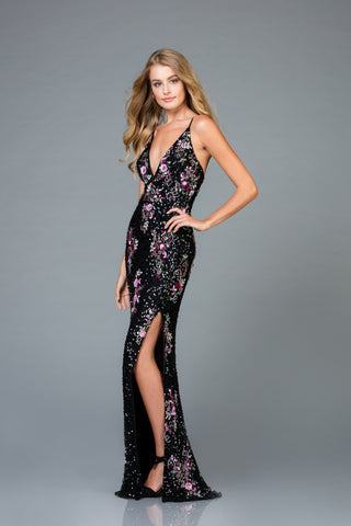 Scala 48965 Multi High Slit Long Dress