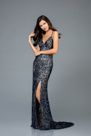 Scala 48977 High-Slit Floor Touch Long Dress