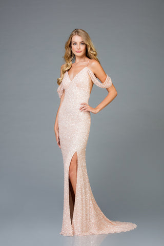 Scala 48979 Off-Shoulder High-Slit Long Dress