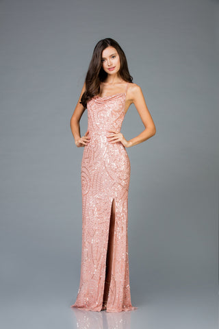 Scala 48980 Front Slit Long Dress