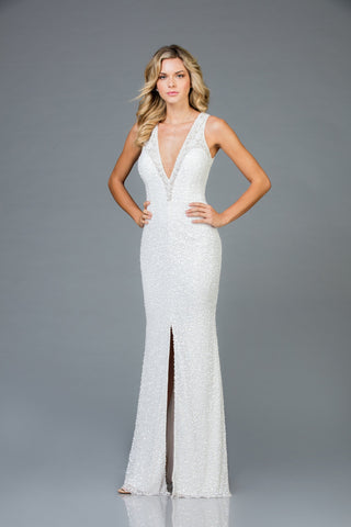 Scala 48984 Deep V-Neckline Long Dress