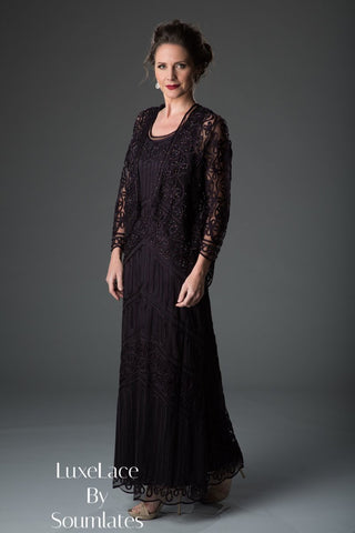 917b23f2203 1603 Soutache Lace Embroidered Dress and Jacket Gown